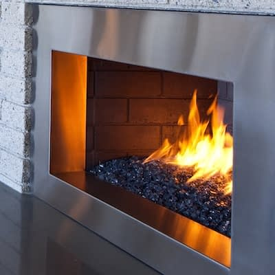 A Contemporary Fireplace with Fire Glass