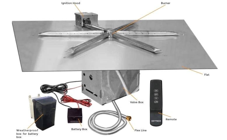 Firegear Square Flat Pan Kit Parts List