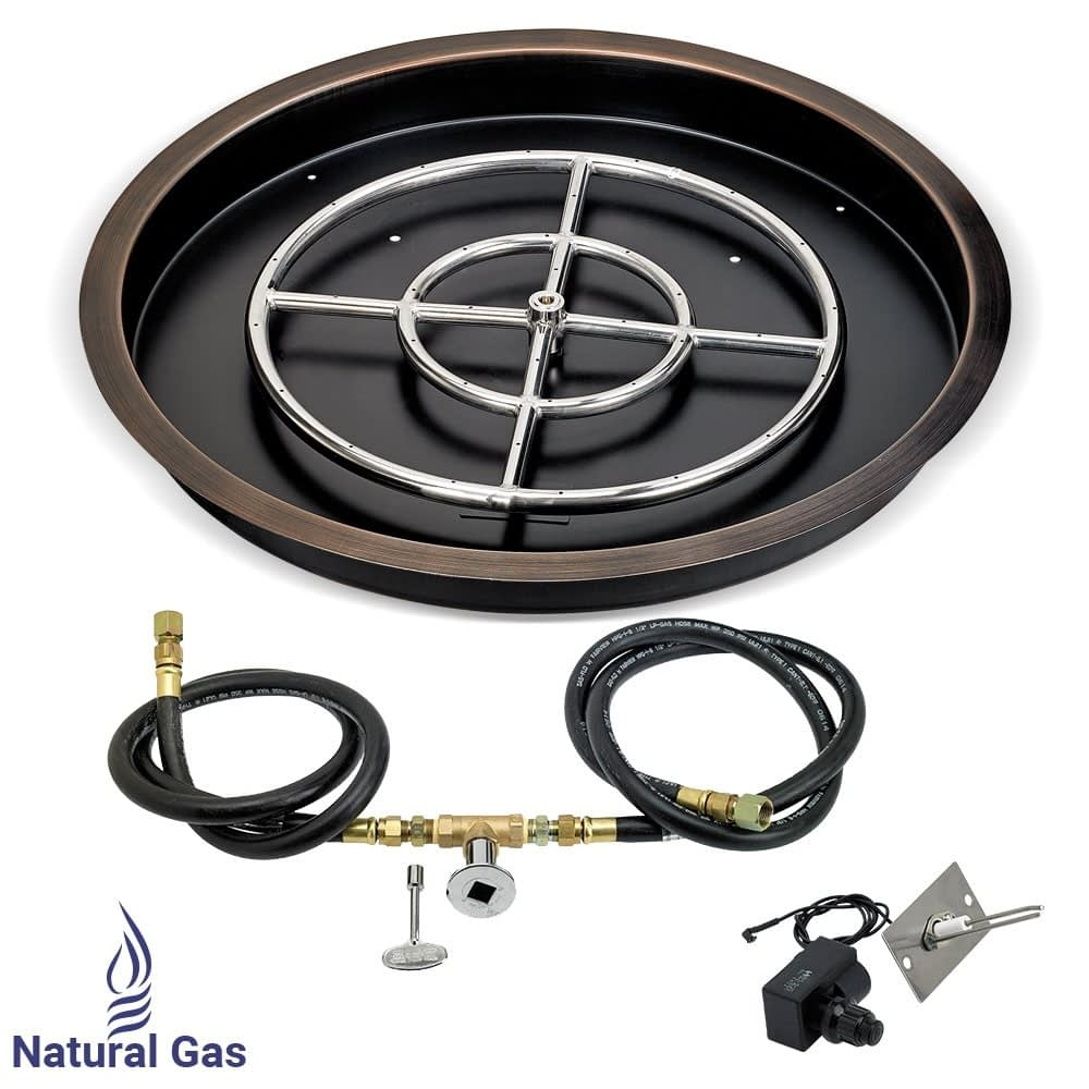 Bronze Round Drop-In Pan with Spark Ignition Kit