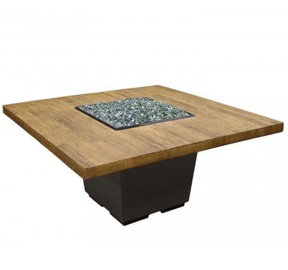 French Barrel Oak Cosmo Square Fire Table