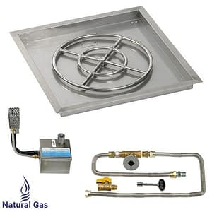 """24"""" X 24"""" SIT Electronic Ignition Fire Pit Kit with Drop In Tray - 18"""" Burner - Natural Gas"""