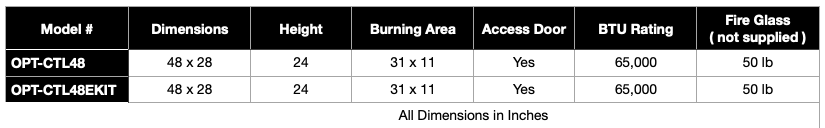 Catalina 48 Inch Fire Pit Specifications