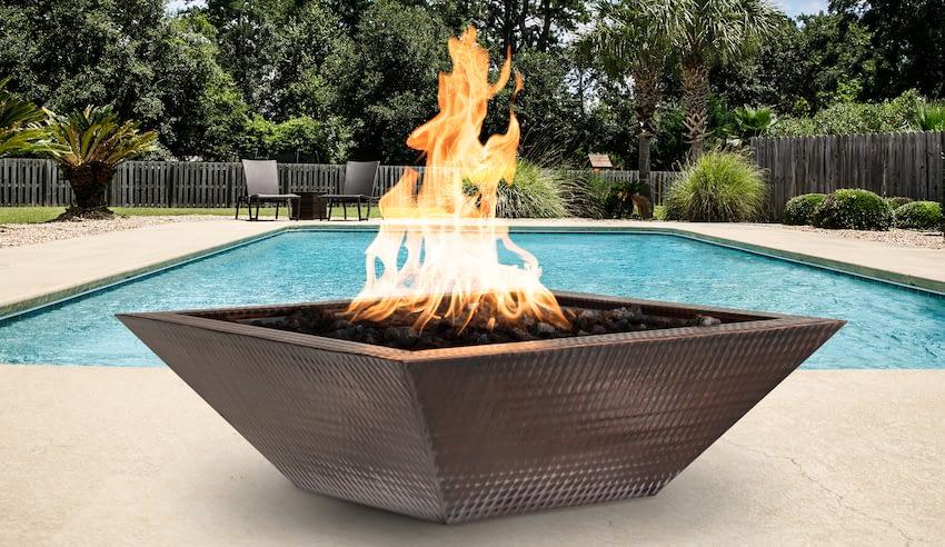 Square Cooper Fire Bowl