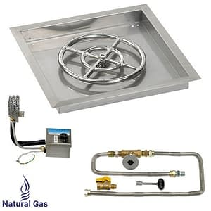 """18"""" X 18"""" SIT Electronic Ignition Fire Pit Kit with Drop In Tray - 12"""" Burner - Natural Gas"""