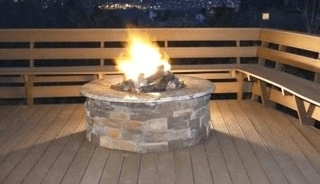 Gas Fire Pit On Wooden Decking