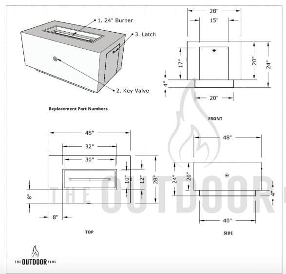 Drawing Showing the Catalina Wood Grain Fire Pit Dimensions