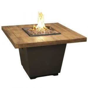 Square French Barrel Oak Fire Table