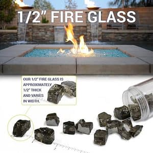 "Classic Fire Glass 1/2"" Black - 10 lb"
