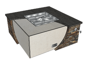 Square Fire pit kit showing how it goes together