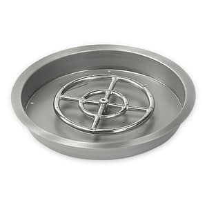 American Fireglass Round Drop In Fire Pit Pan with Stainless Steel Burner