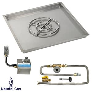"""36"""" X 36"""" SIT Electronic Ignition Fire Pit Kit with Drop In Tray - 18"""" Burner - Natural Gas"""