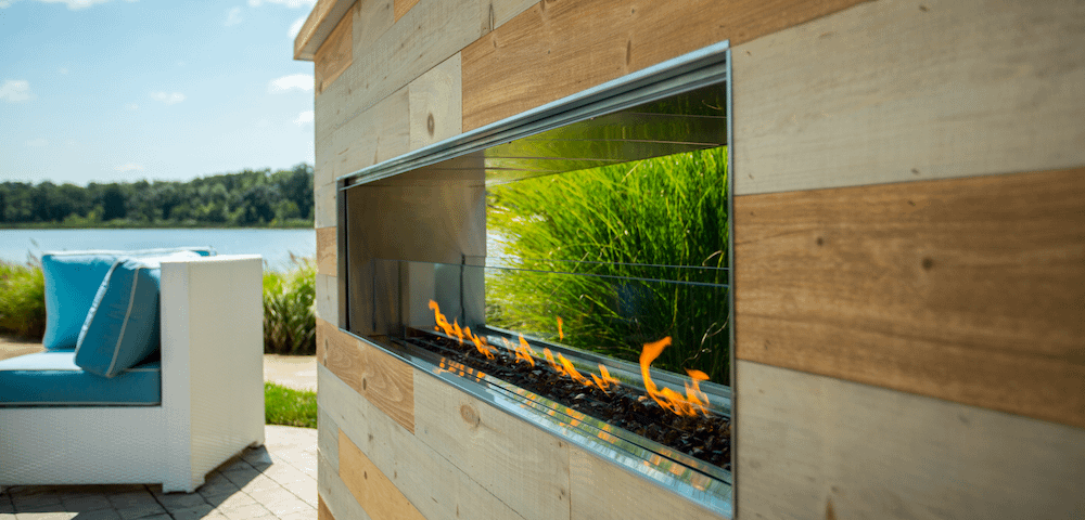 Timber Clad See Through Outdoor Fire Place
