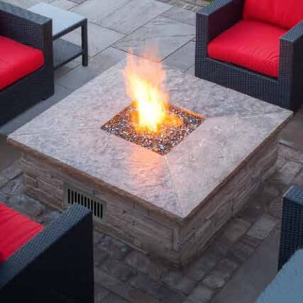 Square Flat Fire Pit Pan In A Fire Pit Structure