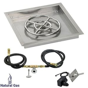 Square Drop In Tray with Spark Ignition Kit and Natural Gas Connection Kit
