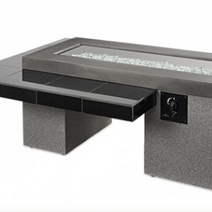 Black Uptown Linear Gas Fire Pit Table UPT-1242 / The Outdoor Greatroom