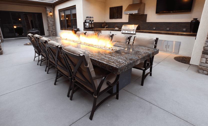 Linear Fire Pit Burner in a Fire Pit Table